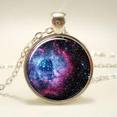 Rosette Nebula Necklace Galaxy Jewelry Universe Pendant by rainnua, $14.45