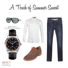 Add a touch of summer sunset to a classic #outfit. #men #style #fashion #watch #qnet
