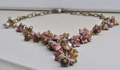 Purple Dawn Czech Purple & Copper Flower Bead Necklace £14.50