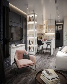 Small Loft Apartments, Small Appartment, Small Apartment Interior, Studio Apartment Decorating, Home Room Design, House Design, Home Office Layouts, Living Room Decor On A Budget, Home Comforts