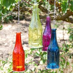 Hanging Bottle Candle Holder -- DIY and hang from trees??