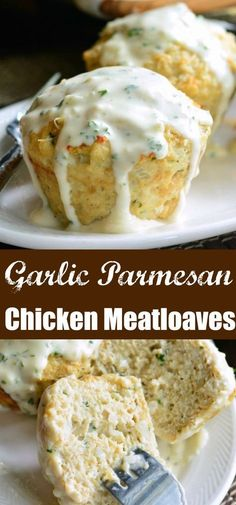 Garlic Parmesan Chicken Mini Meatloaves Juicy flavorful chicken meatloaves topped with an addicting creamy Parmesan sauce These individual meatloaves are perfect for dinn. Garlic Parmesan Chicken, Parmesan Sauce, Chicken Parmesan Meatloaf, Baked Garlic, Meatloaf Recipes, Meatloaf Sauce, Garlic Meatloaf Recipe, Chicken Flavors, Chicken Recipes