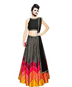 Buy Art Silk Multicolour Chevron Print Semi Stitched Lehenga online in India at best price.This set features a black raw silk lehenga with hot pink and yellow panels and zig-zag gota lines all Choli Designs, Lehenga Designs, Blouse Designs, Dress Designs, Raw Silk Lehenga, Lehenga Choli, Black Lehenga, Lehnga Dress, Bridal Lehenga
