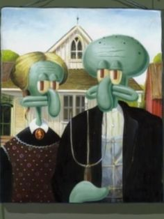 Presenting Squidward, in American Gothic. Squidward Painting, Squidward Art, American Gothic Painting, American Gothic Parody, Wallpaper Iphone Cute, Aesthetic Iphone Wallpaper, Watercolor Canvas, Watercolor Paintings, Fonte Des Glaciers