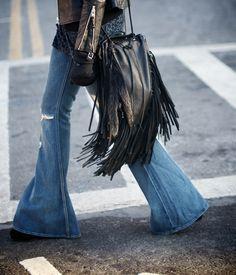 fringe bag + wide legged jeans.