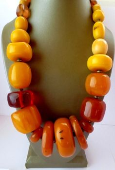 RARE NATURAL BALTIC AMBER BUTTERSCOTCH EGG YOLK HUGE BEAD NECKLACE 200 grms universalgems1111