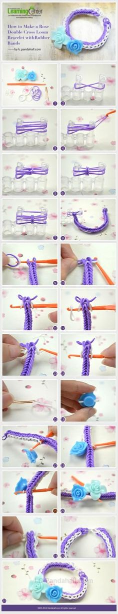 How to Make a Rose Double Cross Loom Bracelet with Rubber Bands by wanting