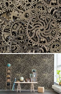 WALL MURAL | WALLPAPER | METAL | DISCOVER | CURIOUS | EXPLORE | EXPLORER | TORN-DOWN | TREASURE HUNT | SECRET PLACES | MYSTERIOUS SPACES | ODD | BEAUTIFUL | PHOTO WALL MURAL | STEAMPUNK | TAKE A SECOND LOOK | LOOK CLOSER | MECHANICS