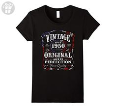 Womens Vintage Made In 1950 Birthday Gift T-Shirt XL Black - Birthday shirts (*Amazon Partner-Link)