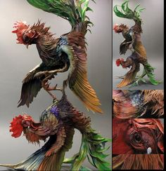 Roosters by creaturesfromel.deviantart.com on @deviantART #rooster #sculpture #statuette