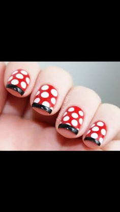 Red, black and white disney inspired nail art