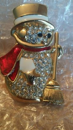Vintage Snowman brooch rhinestone enamel Signed Don Lin gold plated #DonLIn