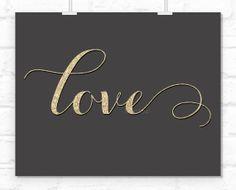 Love printable golden glitter calligraphy Love by blursbyaiShop, $4.90