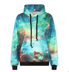 Cheap galaxy hoodie men, Buy Quality hoodies men directly from China winter hoodie Suppliers: Space Galaxy Hoodies Men/Women Hooded Tops Sweatshirts Digital Print Autumn Winter Hoody With Hat Galaxy Hoodie, Blue Hoodie, Long Hoodie, Hoodie Sweatshirts, Hoody, Mode 3d, Green Galaxy, Green Sky, Harajuku