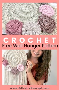 How To Make An Easy Crochet Tapestry- Quick And Free Pattern Free crochet pattern for a dreamcatcher style floral wall hanger. Crochet home decor patterns are my favorite! Crochet Dreamcatcher Pattern Free, Boho Crochet Patterns, Crochet Mandala Pattern, Crochet Motifs, Beginner Crochet Patterns, Loom Patterns, Crochet Wall Art, Crochet Wall Hangings, Crochet Home