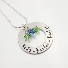 Personalized Child Names Necklace | Mommy Necklace With Birthstones | Hand Stamped Mother's Necklace | Children's Names Jewelry Mom Jewelry