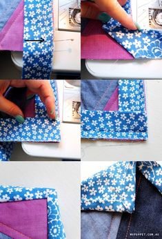 Perfect mitered binding corner- explanation and lots of pictures.Perfect mitered binding corner - this is how you do a binding on the corners. Cut fabric 2 wide and fold in half, etc. Quilting Tips, Quilting Tutorials, Quilting Designs, Sewing Tutorials, Beginner Quilting, Quilting Projects, Sewing Mitered Corners, Quilt Corners, Quilt Binding Tutorial