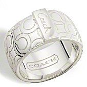 COACH STERLING OP ART BIAS BAND RING   $128.00   style:95425