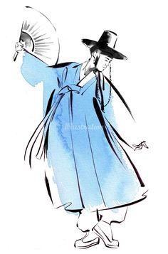 Durumagi korean dress illustration by Katharine Asher More