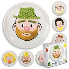 Food Face Kid's Children's Ceramic Dinner Plate by Fred. I can now trick my kids into eating their veggies! Dinners For Kids, Kids Meals, Assiette Design, Kids Plates, Decoration Originale, Food Plating, Food Hacks, Dinner Plates, Dinner Table