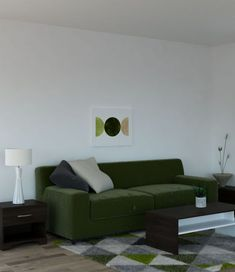 Living room ideas with dark green couch and espresso furnishings. Dark Green Couches, Green Wall Art, Living Room Green, Rug Ideas, Espresso, Sofa, Artwork, Furniture, Color