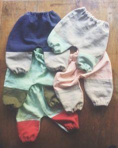 Linen trousers with linen colour block