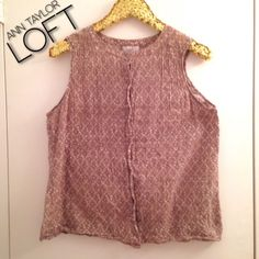 """Ann Taylor Loft Button Down Sleeveless Blouse Ann Taylor Loft Button Down Sleeveless Blouse. Size: XL or 14/16. Color: Very light brown or tan and white. Length: 24"""". Bust 42"""". Material: 100% Cotton, hand wash only. Condition: Great.   #plussize LOFT Tops"""