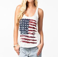 American Flag Print Tank Top Camisole