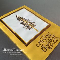 Thoughtful Branches Christmas card - Copper #stampinup #thpughtfulbranches #rosaliedesmond #cardmaking #christmascard #copperembossing #copperfoil