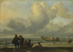 A Beach Scene with Fishermen  about 1665, Ludolf Bakhuizen