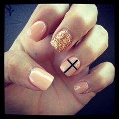 nails, cross, gold glitter, nail art