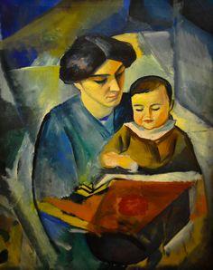 August Macke - Elisabeth and Little Walter, 1912 at Kunstmuseum Bonn Germany