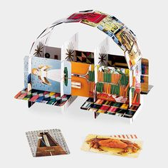 House of Cards    Famed designers Charles and Ray Eames' picture-card decks have become universal favorites. Each card depicts a different familiar object from the animal, mineral, or vegetable kingdoms. Six slots on each card interlock for building the house of cards of your dreams.