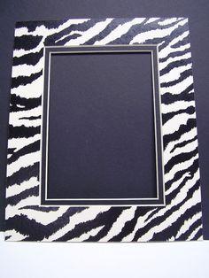 Picture Frame Mat Double  Zebra Print Black and by SkinnyDogArt, $5.99