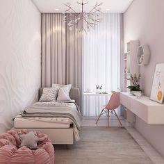 Um quarto pequeno, super feminino e aconchegante! 📷 Reprodução/home-designing #decor #decoração #design #revistaminhacasa