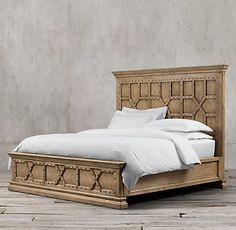 Castelló Bed Without Footboard from Restoration Hardware. Saved to Home Sweet Home. Wood Bed Design, Bedroom Bed Design, Bedroom Sets, Bedding Sets, Master Bedroom, Bedrooms, Luxury Home Furniture, Bedroom Furniture, Bedroom Decor