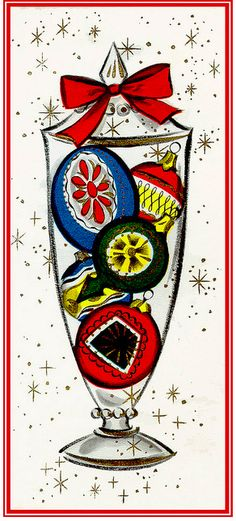 Mid Mod vintage Christmas card with ornaments