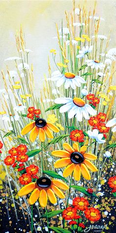 """Lady Bug V"" painting by artist Jordan Hicks. Art Floral, Watercolor Flowers, Watercolor Paintings, Daisy Painting, Oil Paintings, Simple Acrylic Paintings, Fence Art, Beginner Painting, Painting Inspiration"