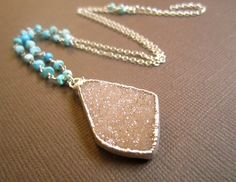 Peach Druzy Drusy Quartz Turquiose Necklace Sterling Silver. Julianne Blumlo on Etsy.  love this color combo