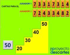 PROYECTO CANALS. Juego de numeración. Subir la escalera. El objetivo es redondear números de dos cifras menores que 50, buscando el número formado por dos, tres, cuatro, o cinco decenas exactas, que se acerque más a su valor. Esto ayuda a conocer mejor las decenas y unidades, y consolidar el conocimiento de los números.