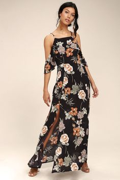 Slip on the Sweet Scene Black Floral Print Off-the-Shoulder Maxi Dress for instant romance! Woven rayon shapes adjustable skinny straps, and a darted bodice with a fluttering off-the-shoulder flounce. Flowing maxi skirt with twin side slit falls from the fitted waist. Hidden side zipper/clasp.