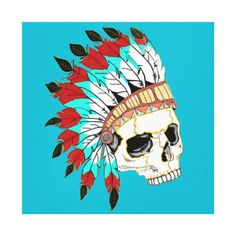 Indian Chief Skull on Wrapped Canvas.  Our original design of an Indian Chief Skull in a turquoise background on Wrapped Canvas.