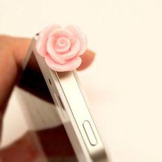 Rose phone topper headphone dust plug. $1.00, via Etsy.