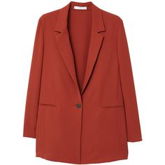 Unstructured Flowy Blazer (270 PEN) ❤ liked on Polyvore featuring outerwear, jackets, blazers, red blazer jacket, lapel blazer, long sleeve jacket, red jacket and long sleeve blazer