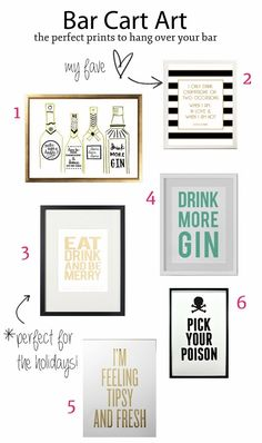 Tiffany Leigh Interior Design: Bar Cart Art: Perfect Prints to Hang over your Bar