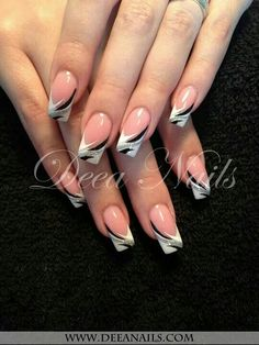 These R just Gorgeous francaise Gorgeous francaise gorgeous French Nail Art, French Nail Designs, Beautiful Nail Designs, Acrylic Nail Designs, Nail Art Designs, French Manicure Nails, My Nails, Easy Nail Art, Cool Nail Art