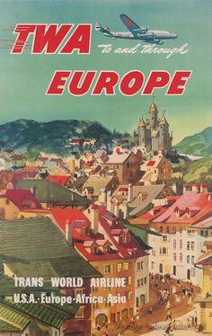 Vintage TWA Europe Travel Poster