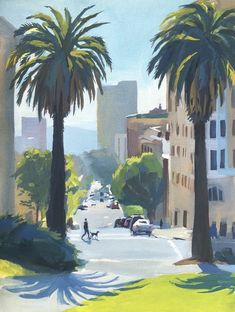 It was a spectacular sunny day at Lafayette Park in San Francisco. The fog was slowly burning by the hot sun. This park is one of the most beloved pla City Painting, Gouache Painting, Love Painting, Watercolor Paintings, Original Paintings, Green Landscape, Landscape Art, Landscape Paintings, Painting Inspiration