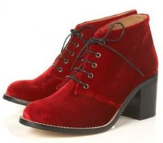 Topshop Red Lace up Boots