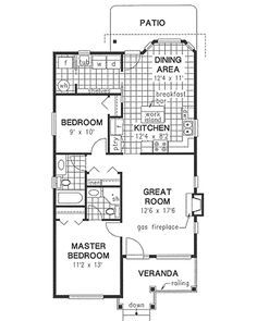 Traditional Style House Plan - 2 Beds 2 Baths 1000 Sq/Ft Plan #18-1040 Floor Plan - Main Floor Plan - Houseplans.com
